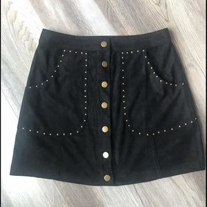 Faux Suede Snap Closure Skirt